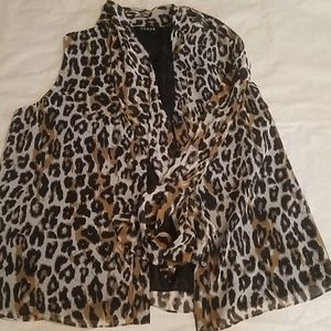 Chaus Leopard Print Sheer Sleeveless Overshirt 16